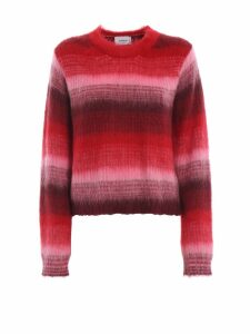 Dondup Fading Red Striped Mohair Blend Crop Sweater