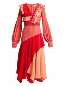 Peter Pilotto - Contrast Panel Ruffled Silk Dress - Womens - Pink
