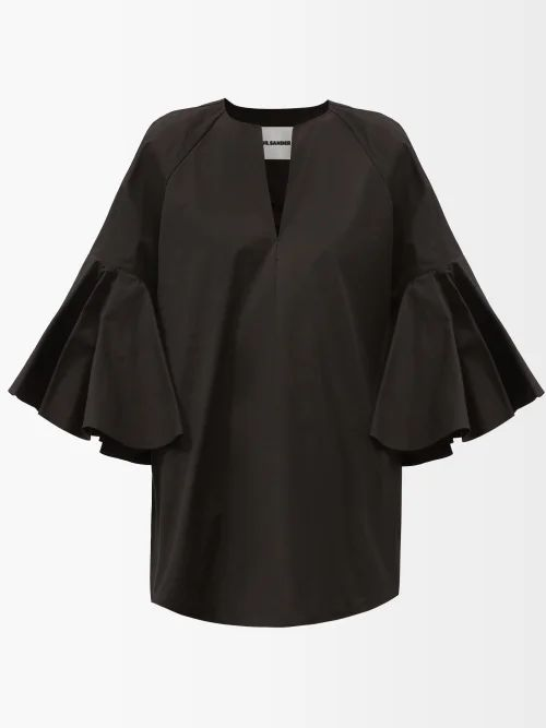 Marine Serre - Quilted Leather Pencil Skirt - Womens - Black
