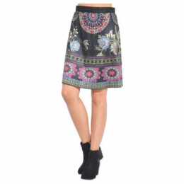 101 Idees  Printed suede skirt  women's Skirt in Black