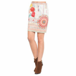 101 Idees  Printed suede skirt  women's Skirt in Beige
