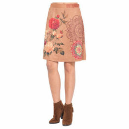 101 Idees  Printed suede skirt  women's Skirt in Brown