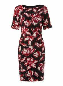 Womens *Roman Originals Multi Colour Foil Floral Print Bodycon Dress- Red, Red