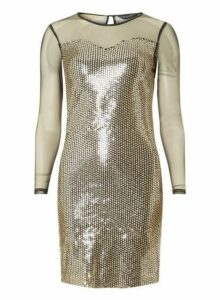 Womens **Black And Gold Long Sleeve Bodycon Dress- Gold, Gold