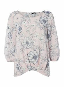 Womens *Roman Originals Light Pink Floral Print Dipped Hem Top- Light Pink, Light Pink