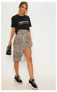 Petite Brown Leopard Print Wrap Pencil Skirt, Brown
