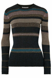 Bella Freud - Joan Didion Striped Metallic Ribbed-knit Sweater - Black