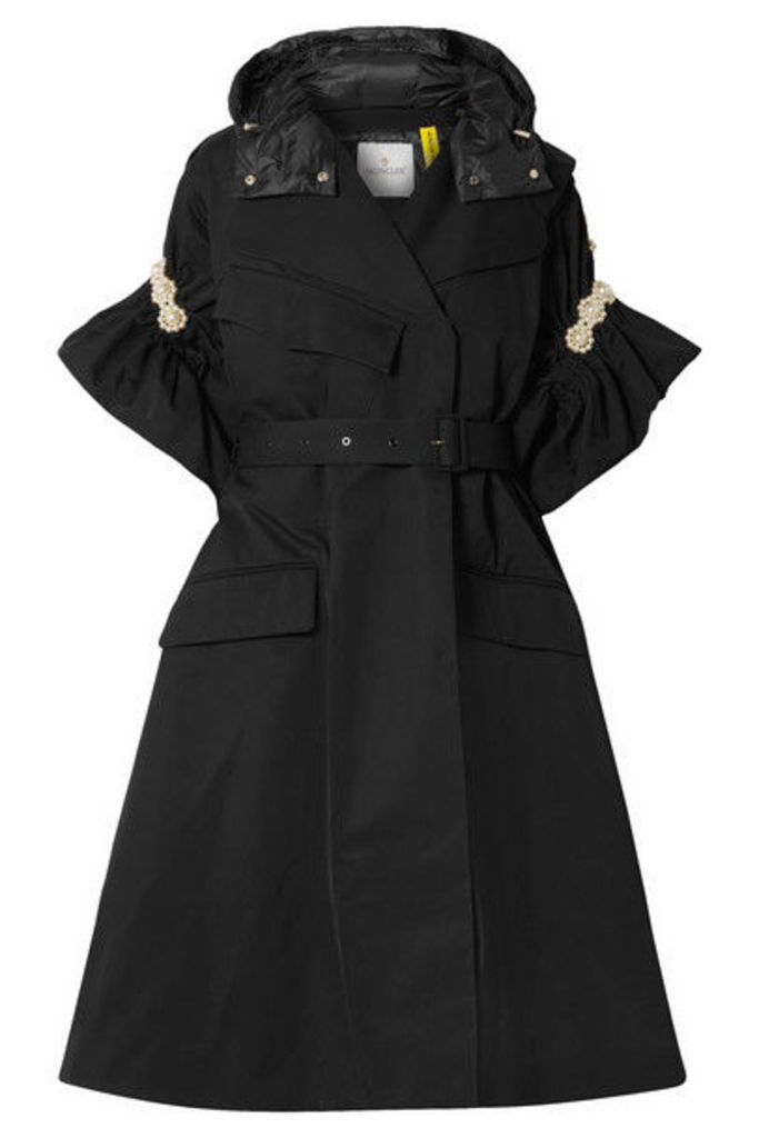 Moncler Genius - + 4 Simone Rocha Faux Pearl-embellished Shell Trench Coat - Black