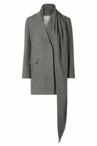 The Row - Mewey Tie-detailed Houndstooth Camel Hair Coat - Black