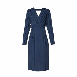 PAISIE - Striped Wrap Front Dress With Low V Twisted Back