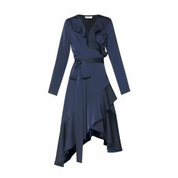 PAISIE - Satin Frill Wrap Dress with Asymmetric Hem in Navy