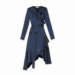 PAISIE - Satin Frill Wrap Dress with Asymmetric Hem in Navy