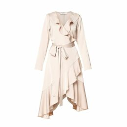 PAISIE - Satin Frill Wrap Dress with Asymmetric Hem in Champagne