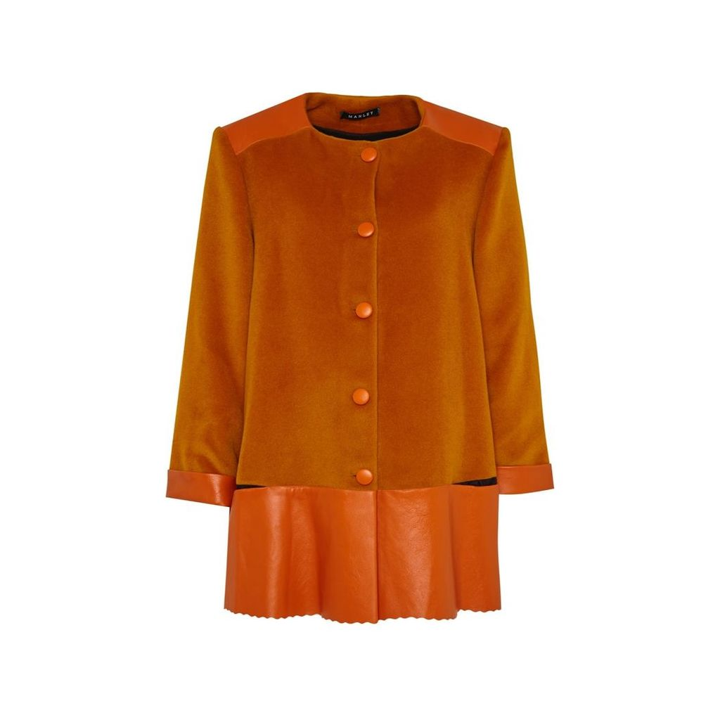 Manley - Sadie Cashmere Wool and Leather Coat Orange