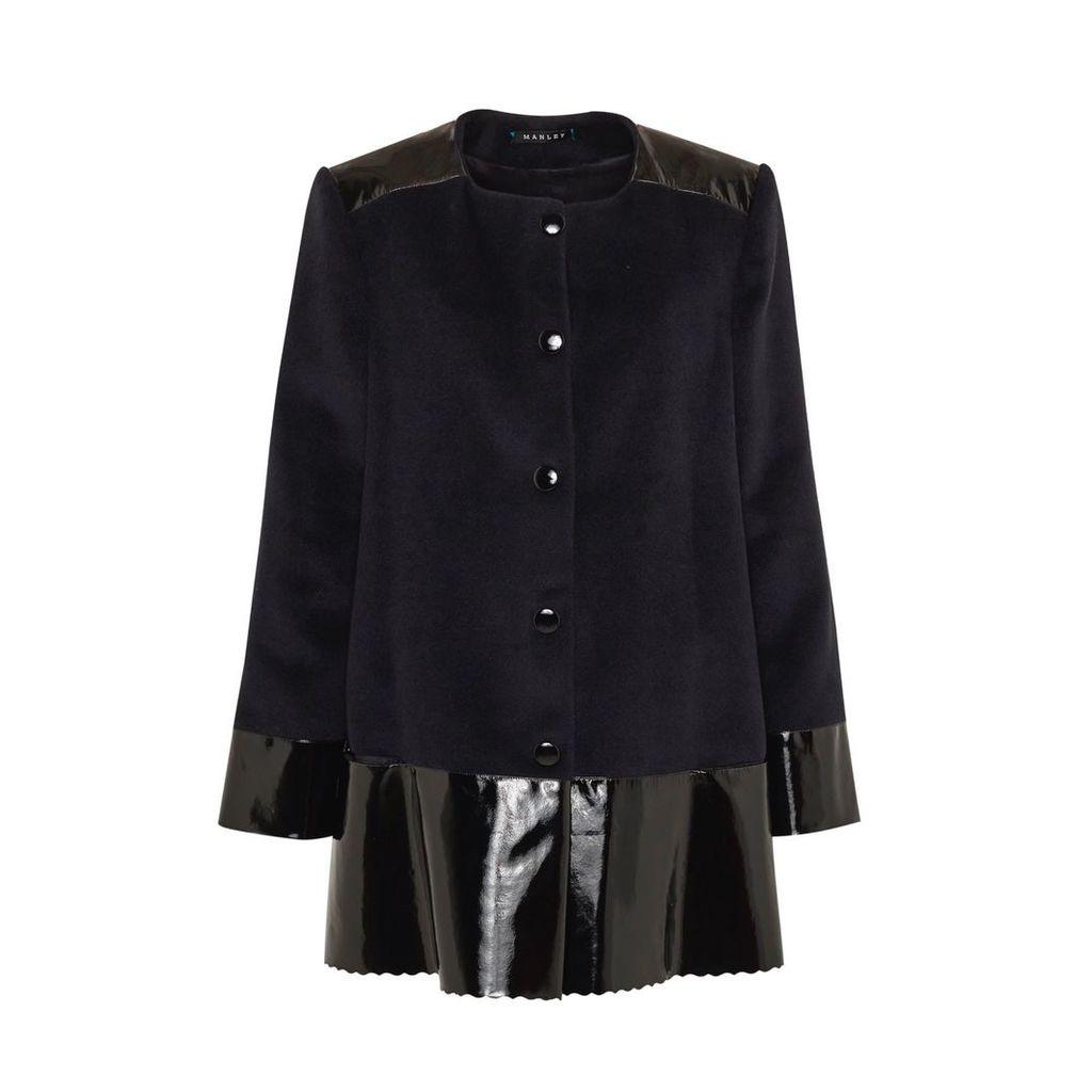 Manley - Sadie Cashmere Wool & Leather Coat Black