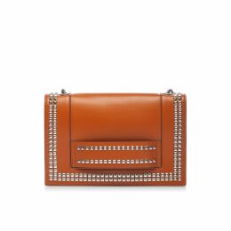 Nissa - Leather Shoulder Bag with Silver Studs