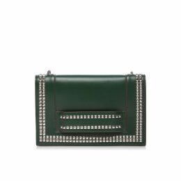 Nissa - Leather Shoulder Bag with Silver Studs Green