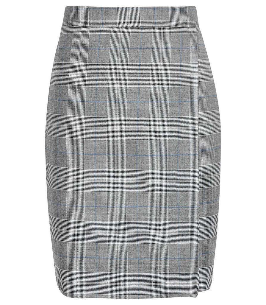 Reiss Joss Skirt - Checked Tailored Pencil Skirt in Grey, Womens, Size 14