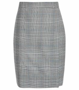 Reiss Joss Skirt - Checked Tailored Pencil Skirt in Grey, Womens, Size 14