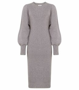 Reiss Nordica - Flute Sleeve Knitted Dress in Grey Marl, Womens, Size XL