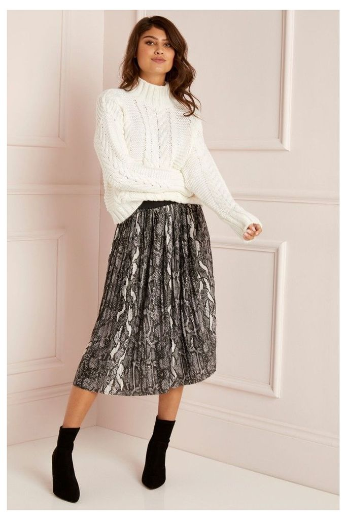 Lipsy Pleated Skirt - 10 - Grey