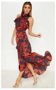 Navy Floral Print  Frill Detail Wrap Maxi Dress, Blue