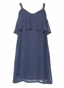Womens *Tenki Navy Polka Dot Ruffle Skater Dress- Blue, Blue