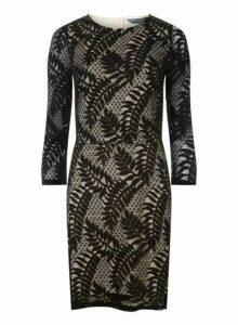 Womens **Tall Black Leafy Bodycon Dress- Black, Black