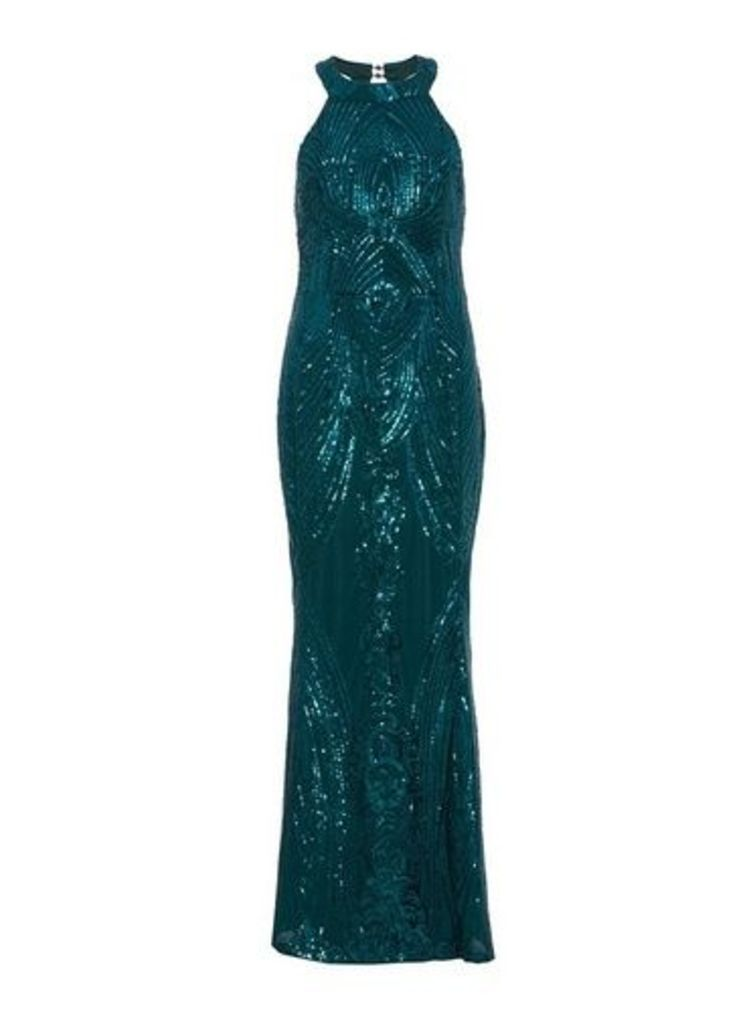 Womens *Quiz Sequin Fishtail Maxi Dress- Green, Green