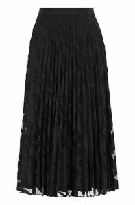 A-line plissé midi skirt in graphic-embroidered tulle