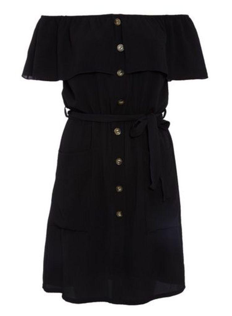 Womens *Quiz Black Bardot Button Dress- Black, Black