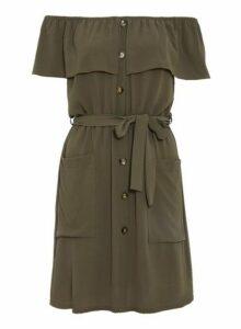 Womens *Quiz Khaki Bardot Button Dress- Khaki, Khaki