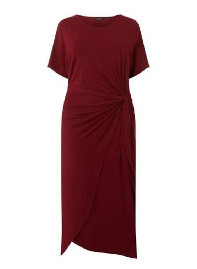 Womens **Dp Curve Wine Manipulated Shift Dress- Red, Red