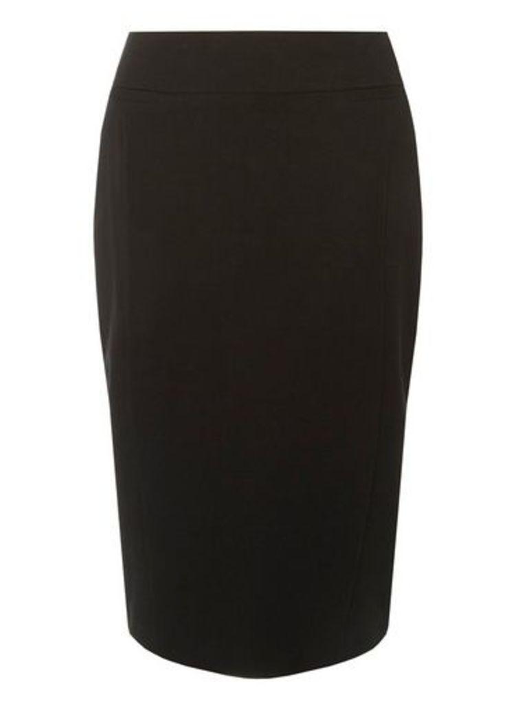 Womens Black Textured Pencil Skirt, Black