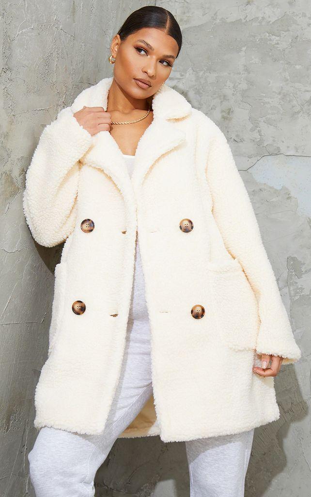Cream Borg Midi Coat, White