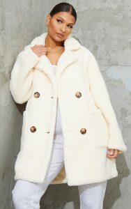 Cream Borg Midi Coat, White