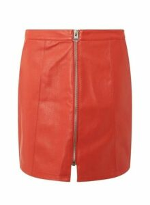 Womens **Vero Moda Red Faux Leather Skirt- Red, Red