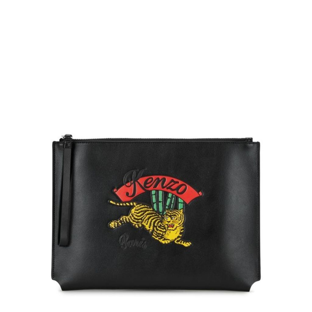 Kenzo Jumping Tiger Black Leather Pouch