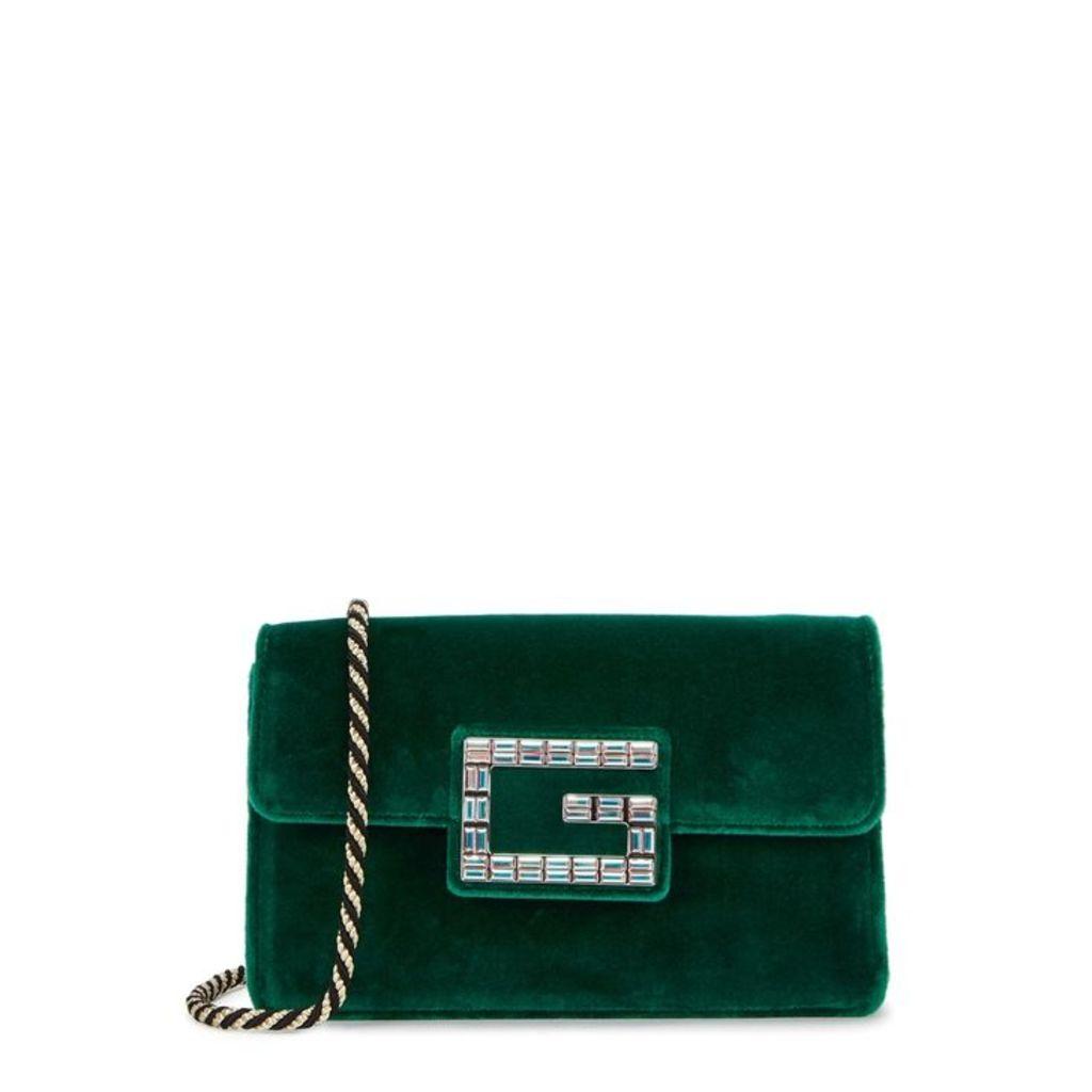Gucci Broadway Green Velvet Shoulder Bag