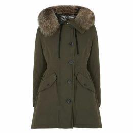 Moncler Monticole Fur-trimmed Twill Coat