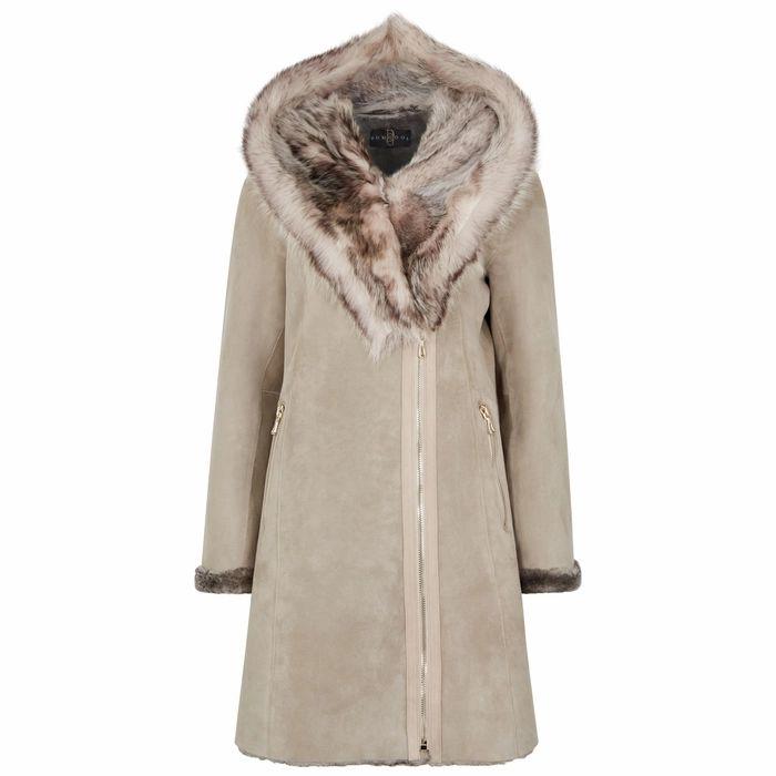 Dom Goor Grey Fur-trimmed Shearling Coat