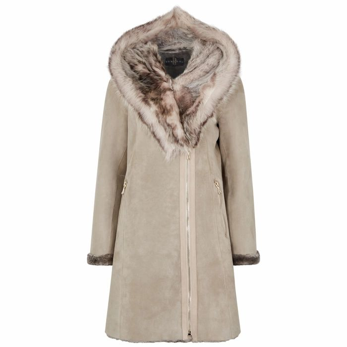 Dom Goor Grey Fur-trimmed Shearling Coat