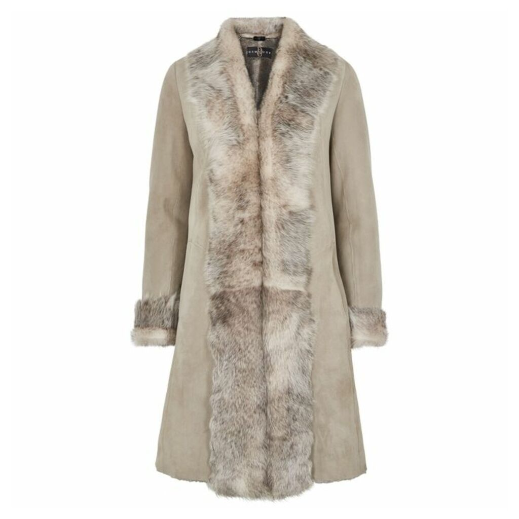 Dom Goor Light Grey Fur-trimmed Shearling Coat