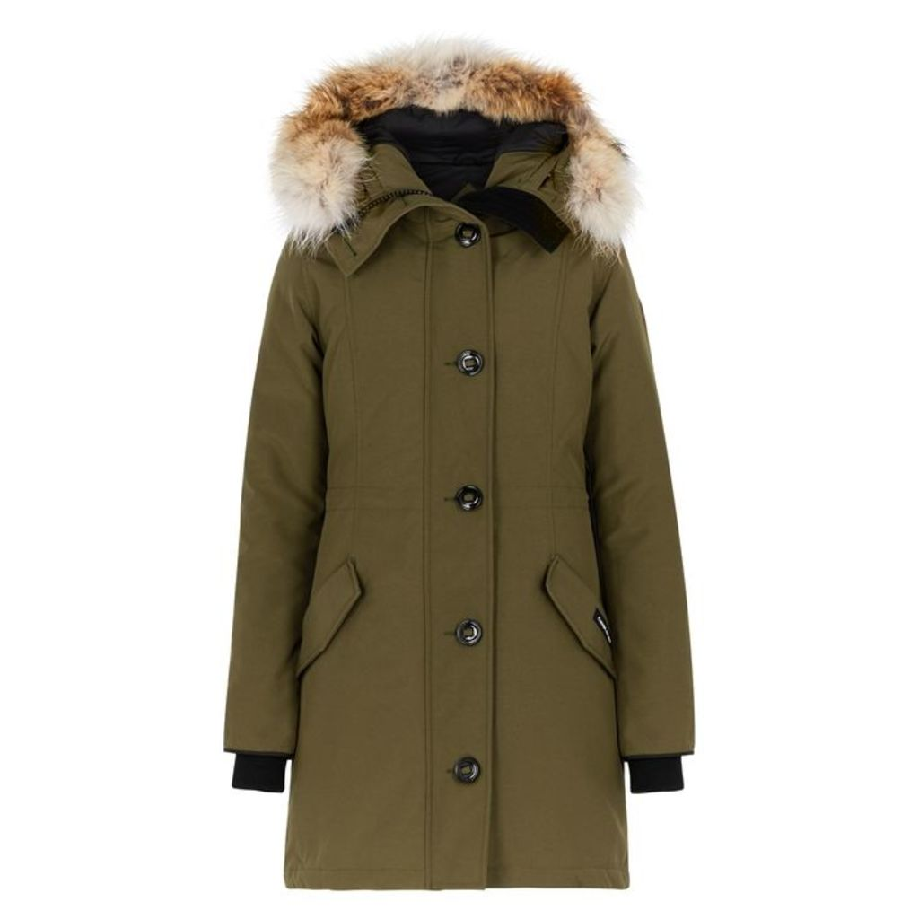 Canada Goose Rossclair Army Green Fur-trimmed Parka