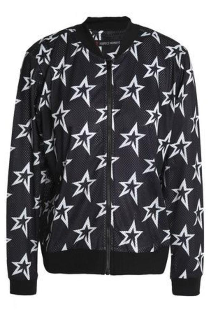 Perfect Moment Woman Printed Mesh Bomber Jacket Black Size L