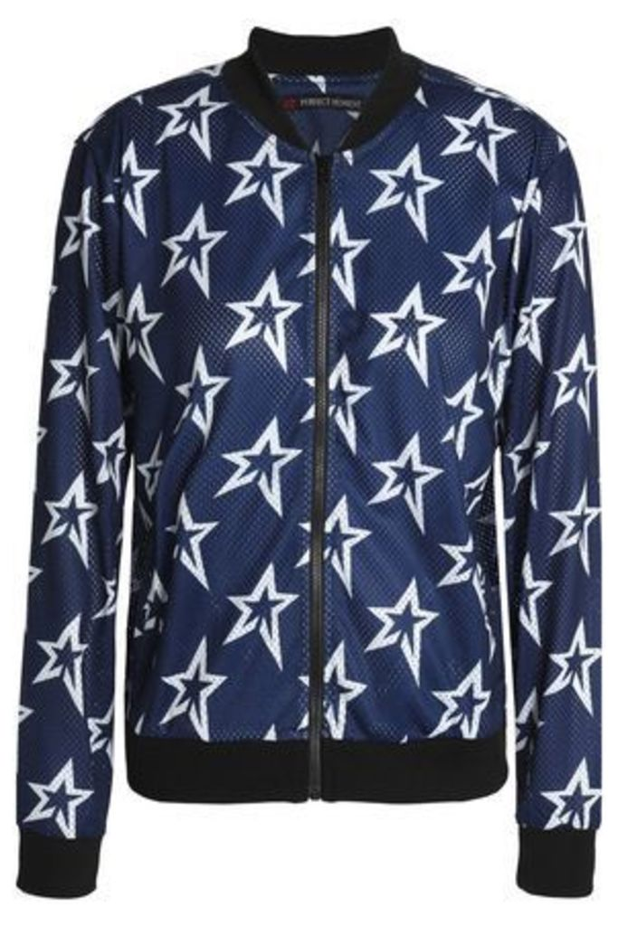 Perfect Moment Woman Printed Mesh Bomber Jacket Navy Size M