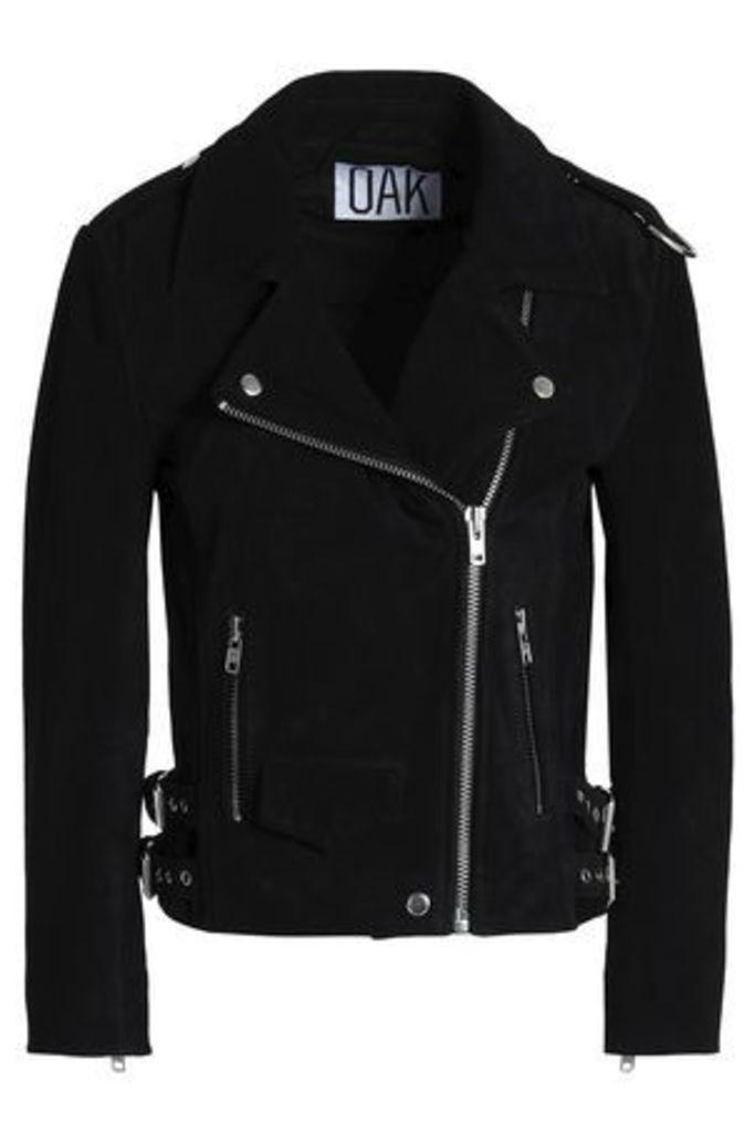 Oak Woman Rider Suede Biker Jacket Black Size L