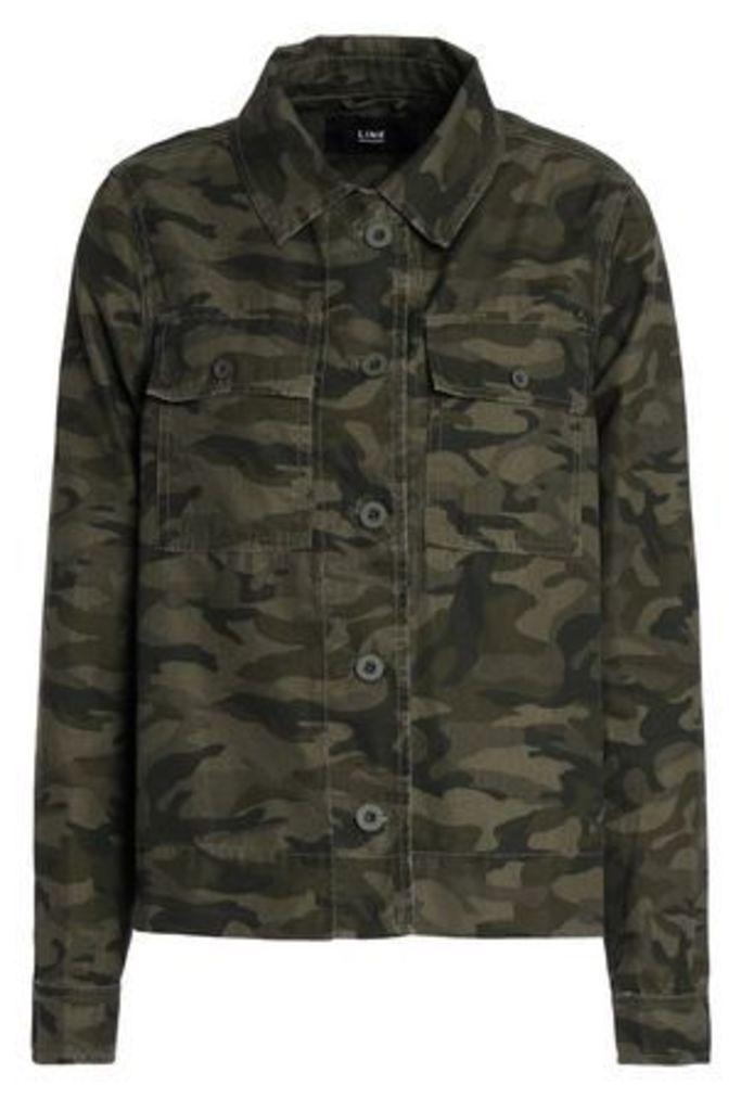 Line Woman Printed Cotton-blend Jacket Army Green Size L