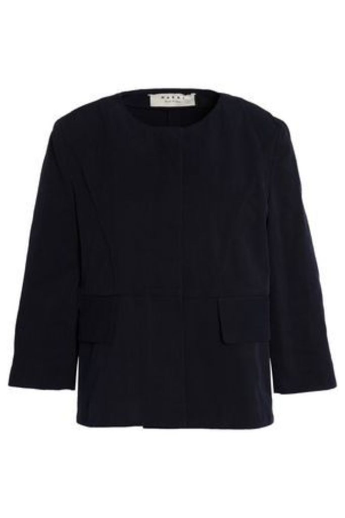 Marni Woman Cotton-canvas Jacket Midnight Blue Size 42