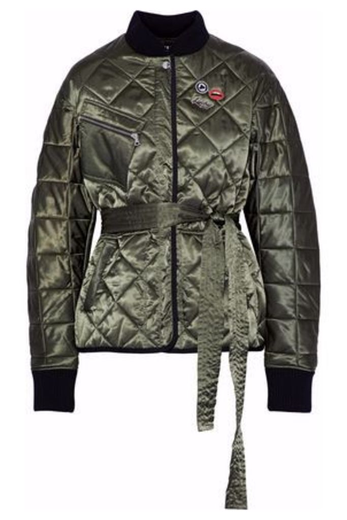 Markus Lupfer Woman Liberty Belted Embellished Quilted Satin Jacket Army Green Size M